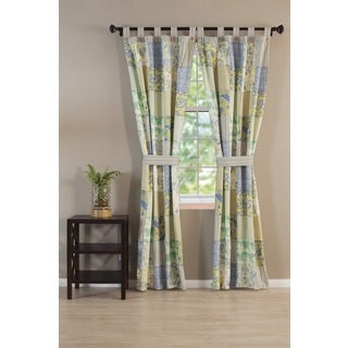 Vintage Jade 84-inch Patchwork Tab Top Curtain Panel Pair