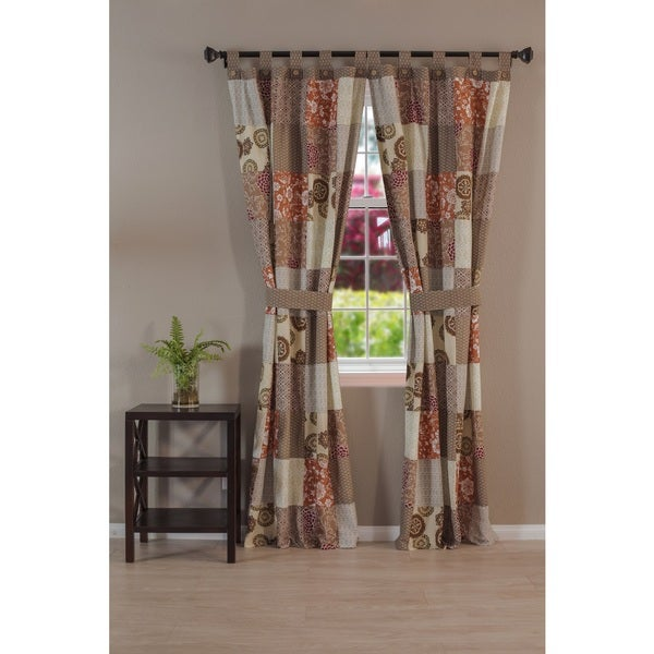 Greenland Home Fashions Stella Patchwork Tab Top Curtain Panel Pair