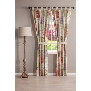 Blooming Prairie Patchwork Tab-top Curtain Panel Pair
