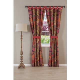 Greenland Home Fashions Jewel Cotton Tab Top Curtain Panel Pair