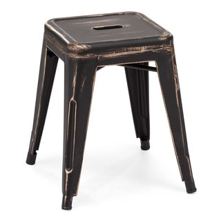 Zuo Marius Antique Black Goldtone Stool (Set of 2)
