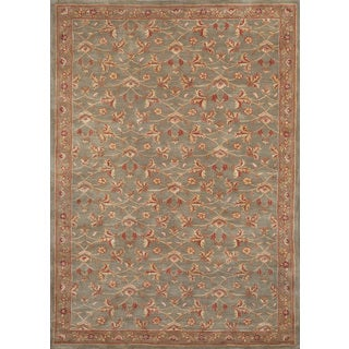 Handmade Jaiden Persian-style Green Gold Wool Area Rug (8' x10')
