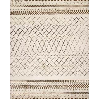 Handmade Moroccan Beige Wool Area Rug (8' x10')