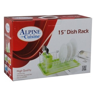 Dish Rack with Utensil Holder and Red Drain Tray