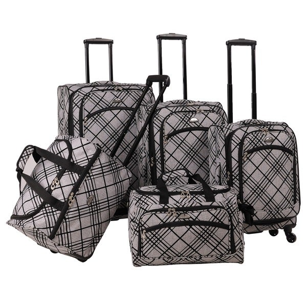 American Flyer Silver Stripes Spinner 5-piece Luggage Set