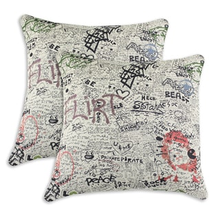 Just the Facts 17-inch Throw Pillows (Set of 2)
