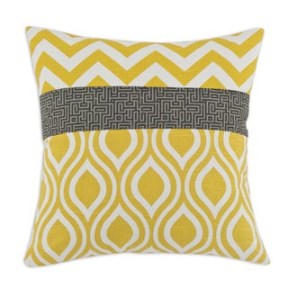 Yellow White and Grey Chevron and Geometric 17-inch Throw Pillow