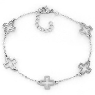ELYA Stainless Steel Open Cross Charm Bracelet