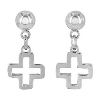 ELYA Stainless Steel Open Cross Dangling Earrings