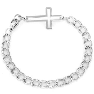 ELYA Stainless Steel Open Sideways Cross Charm Bracelet