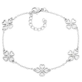 Elya Stainless Steel Clover Heart Charm Bracelet