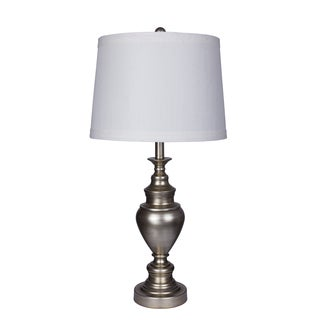 Fangio Lightings #1427AS 29-inch Metal Table Lamp in Antique Silver