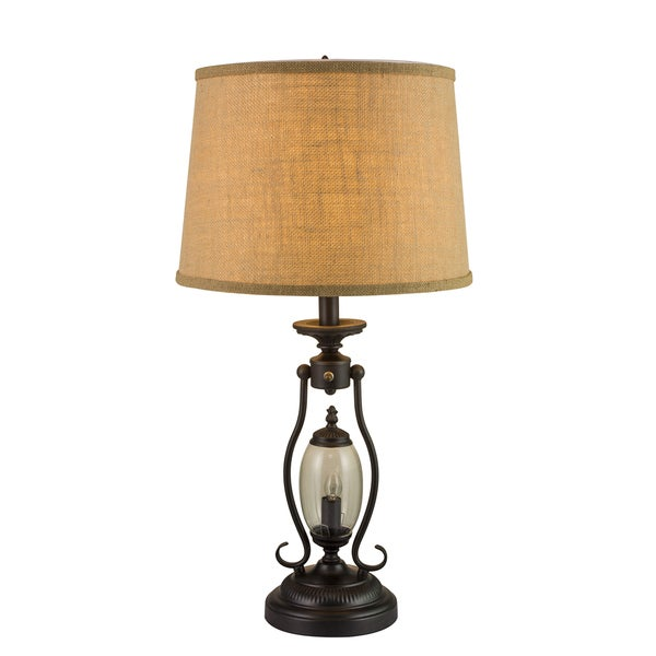 Fangio Lightings #1425 25.5-inch Black Metal & Glass Table Lamp with 7W Night Light