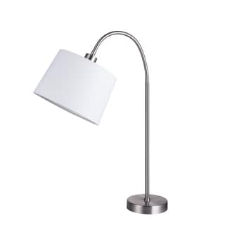 Fangio Lightings #1418 28-inch Adjustable Head Brushed Steel Table Lamp