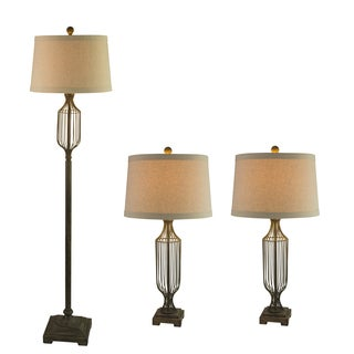 Fangio Lightings #3858ABEG Metal Wire 3PC Lamp Set in Antique Beige