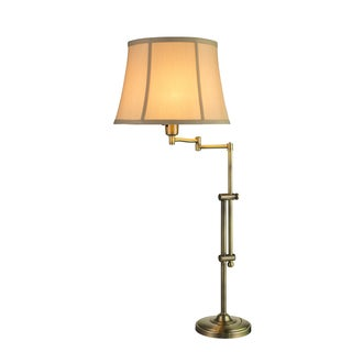 Fangio Lightings #1420AB 29-34-inch Adjustable Metal Swing Arm Table Lamp in Antique Brass
