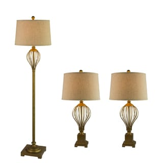 Fangio Lightings #3857AGLD Metal Wire 3PC Lamp Set in Antique Gold