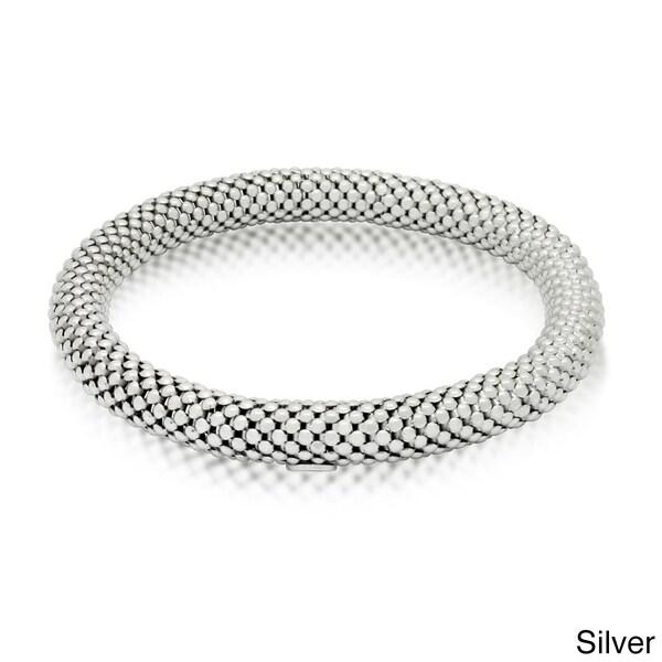 Gioelli Sterling Silver Stretch Mesh Popcorn Bracelet