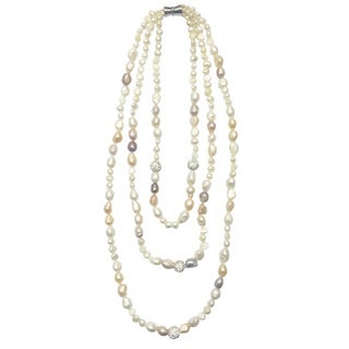 Gardenia Jewelry Elegant Triple-strand Freshwater Pearl Necklace (7-8 mm)