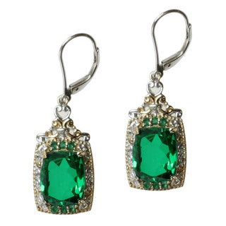 Michael Valitutti Two-tone Green Quartz and Emerald Earrings
