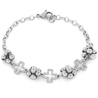 ELYA Stainless Steel Open Cross Charm and Beaded Bracelet