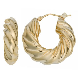 Oro Forte 14k Yellow Gold Polished Twist Round Hoop Earrings