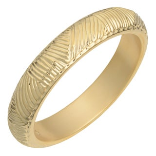 Oro Forte 14k Yellow Gold Engraved Diamond-cut Bangle