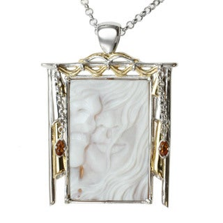 Michael Valitutti Two-tone Carved Cameo and Fire Citrine Necklace