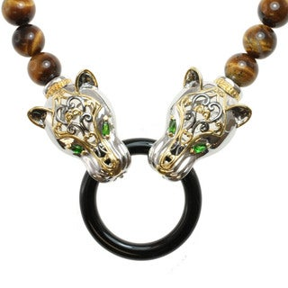Michael Valitutti Two-tone Tiger's Eye, Black Onyx and Chrome Diopside 'Panthers' Necklace