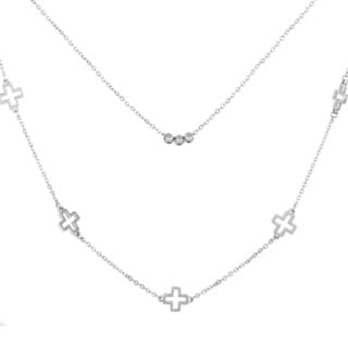 ELYA Stainless Steel Cross Layered Charm Station Necklace