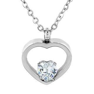 Elya Stainless Steel Cubic Zirconia Heart Necklace