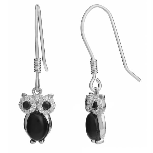 Fremada Rhodium Plated Sterling Silver Black Onyx Cubic Zirconia Owl Earrings