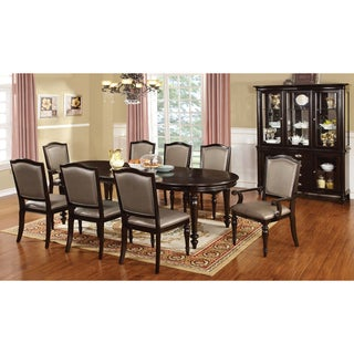 Furniture of America Harllington Dark Walnut 9-Piece Dining Set