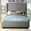 Furniture of America Carmella Silver Leatherette Wingback Low Profile Bed