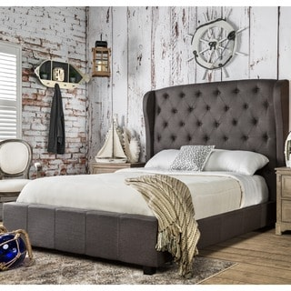Furniture of America Draviosa Button-tufted Padded Flax Wingback Platform Bed