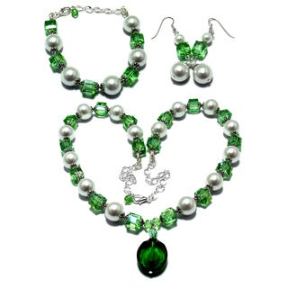Lime Green Crystal and White MoonScape Glass Pearl 3-piece Jewelry Set