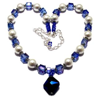 Light Sapphire Blue Crystals and White Glass Pearl 3-piece Jewelry Set