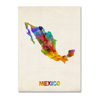 Michael Tompsett 'Mexico Watercolor Map' Canvas Art
