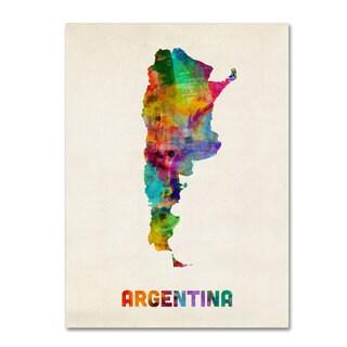 Michael Tompsett 'Argentina Watercolor Map' Canvas Art