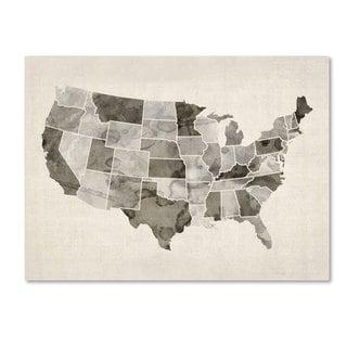 Michael Tompsett 'United States Watercolor Map' Canvas Art