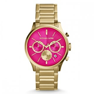Michael Kors Women's MK5909 'Bailey' Pink/ Goldtone Chronograph Watch