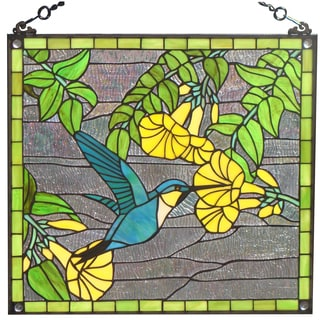 Tiffany Style Hummingbird Design Stained Glass Window Panel