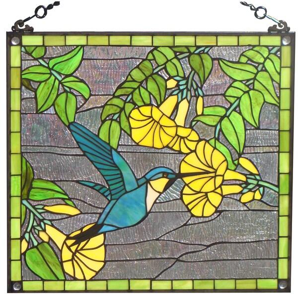 tiffany style hummingbird design stained glass window panel 16362476