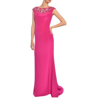 Marchesa Notte Women's Sophisticated Trumpet Style Silk Rhinestone Evening Gown Dress