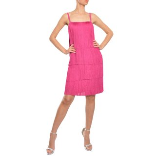 Marchesa Notte Women's Sassy Magenta Fringe Flapper Style Evening Cocktail Dress