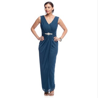 Alex Evenings Women's Long Evening Gown with Embellished Waist Detail and Shawl