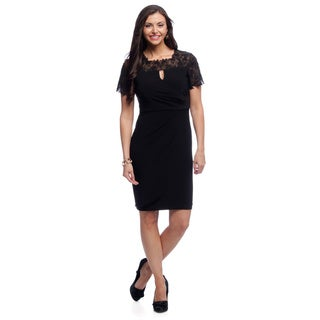 Alex Evenings Women's Black Cocktail Dress with Beaded Lace Illusion Neckline and Sleeves