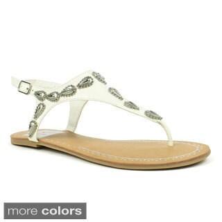 Fahrenheit Women's 'Morena-03' Embellished Flat Sandals