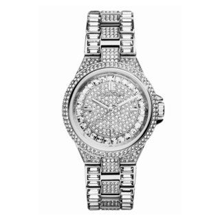 Michael Kors Women's Camille Silvertone Crystal Pave Watch