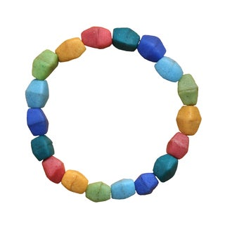 Multicolor Recycled Glass Pebbles Bracelet (Ghana)